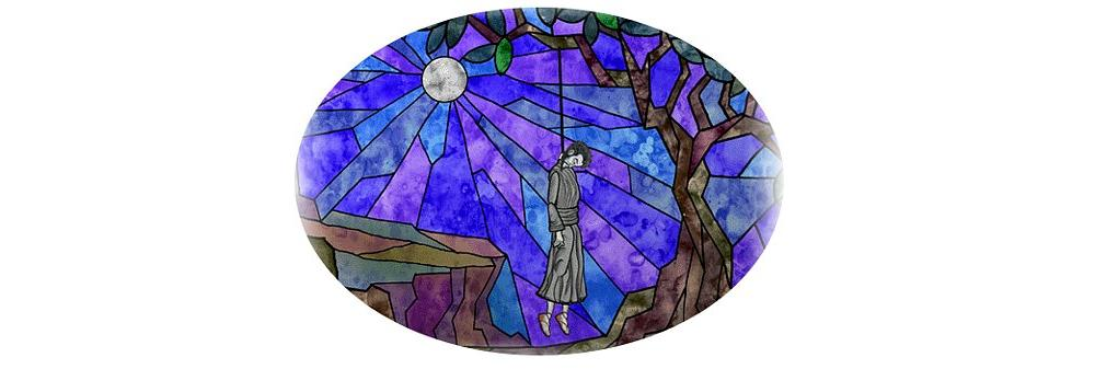 Stained glass window image of Judas Isacariot hanging